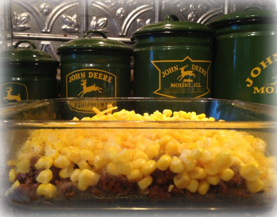 Meat, Cheese, and Corn Layered in Dish