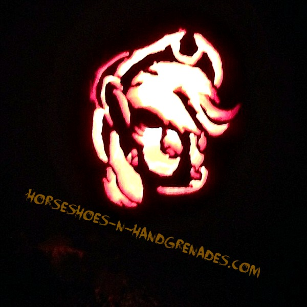 The end result, a My Little Pony (Apple Jack) pumpkin courtesy of Dad's steady hand.