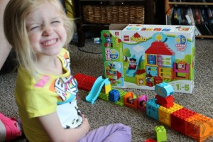 My Bug having a blast with the Duplo set from Mom 2.0