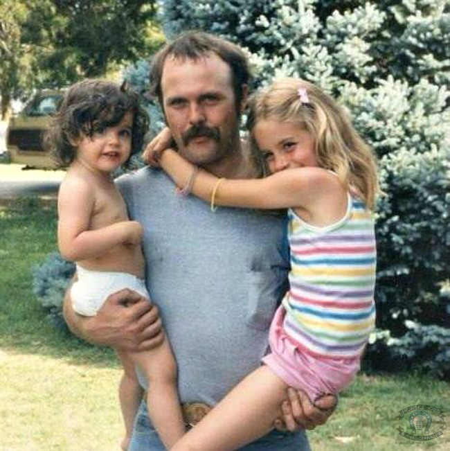 "Hello 80's! This is me, my ""adopted"" dad and my sister - I've never thought of him as anything but my dad -- the adoption part is just a technicality."