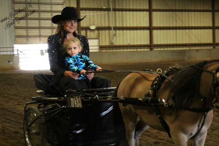Mama Syndi doing what she loves and showing the ponies with my Bug.