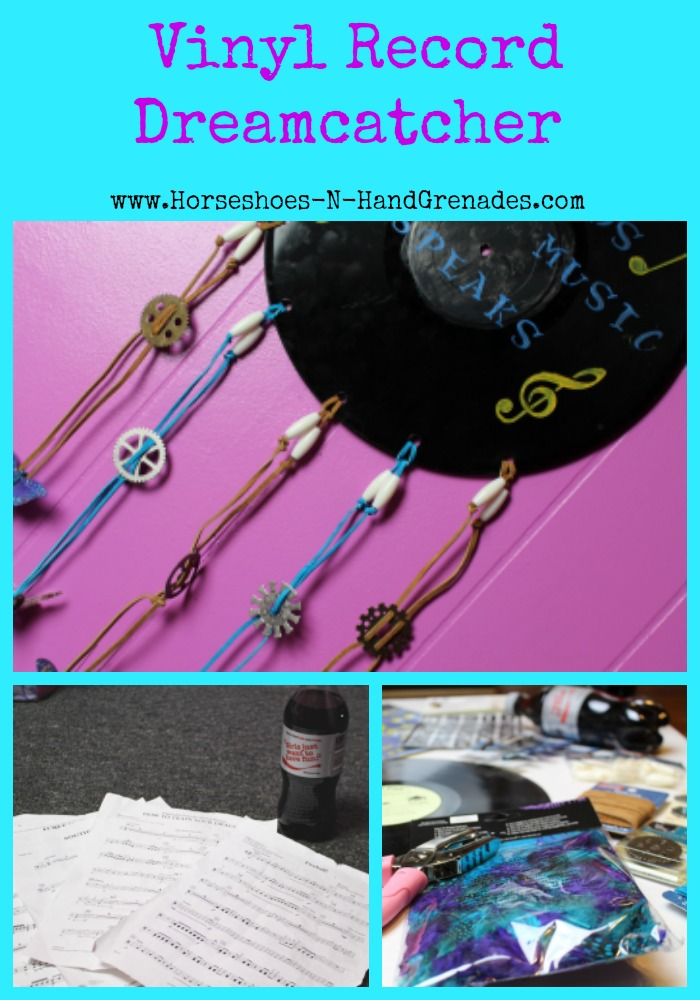 Diy Vinyl Record Wall Art : Diy vinyl record dreamcatcher wall art horseshoes hand